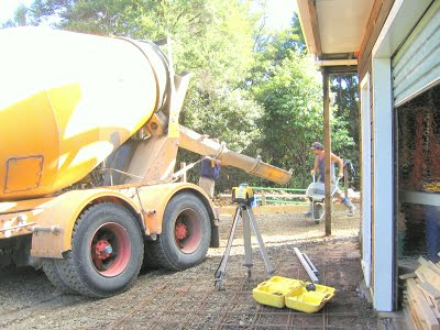 Concrete driveway in the making